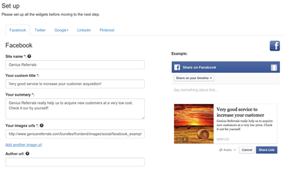 Step 3- Define the default contents to be published on social media