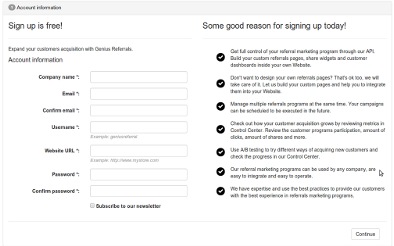 Step 1- Sign up for a free account and get your program running <strong>in minutes</strong>.